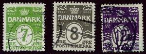 Denmark SC#91, 93 & 96 Used Fine...Bid on a Bargain!!