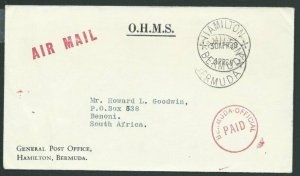 BERMUDA 1968 OHMS cover to South Africa - OFFICIAL PAID in red.............39938