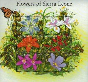 Sierra Leone MNH S/S Flowers Of Sierra Leone 6 Stamps