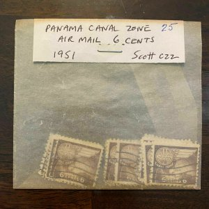 Canal Zone Scott CZC22 Lot of 25 Airmail Stamps - 6 Cents Issue U.S. Possession