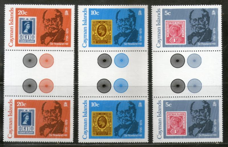 Cayman Islands 1979 Rowland Hill Stamps on Stamp Gutter Pair Sc 426-28 MNH # 512
