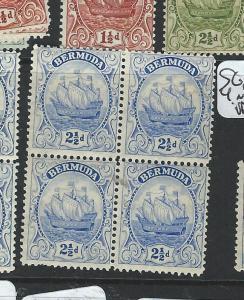 BERMUDA (P0606BB) SHIPS 2 1/2D  SG82 82B  BL OF 4  MNH