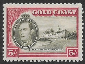Gold Coast 5/- KGVI Christiansborg Castle issue of 1938, Scott 126 MLH