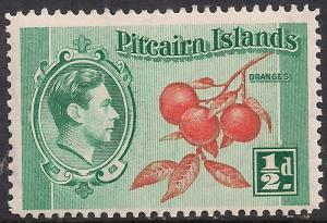 Pitcairn Islands 1940 - 51 KGV1 1/2d Cluster of Oranges MM SG 1 ( F297 )
