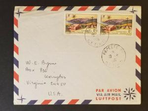 1966 Papeeti Tahiti French Colony to Lexington Virginia USA Air Mail Cover