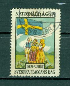Sweden Poster Stamp 1925. National Day June 6. Cancel. Swedish Flag.