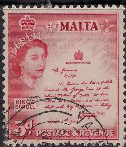 Malta 1956 QE2 3d Rose Red Kings Scroll used SG 272 ( G1154 )