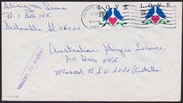 USA TO AUSTRALIA 1990 cover MISSENT TO MANILA Philippines...................6720