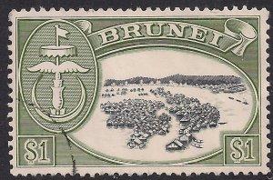 Brunei 1964 - 72 QE2 $1 Native House & Village used SG 129 ( F678 )