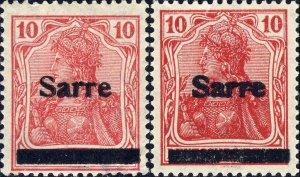 SARRE / SAARGEBIET - 1920 2xMi.6.III 10pf O/P type 3 - Mint*
