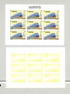 Mongolia #2255a Trains, Electricity 1v Imperf M/S of 9 x 7v Progressive Proofs