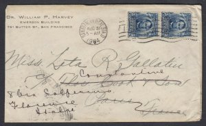 US 1904 5c Lincoln Paar Sich Thomas Cook IN Paris, Frankreich, Fwd Sich Italien
