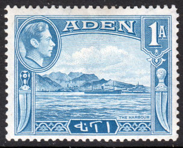 Aden KGVI 1939 1a Pale Blue SG18 Mint Hinged