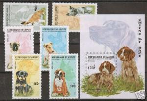Guinea Sc 1340-46 MNH. 1996 Dogs + S/S, complete set