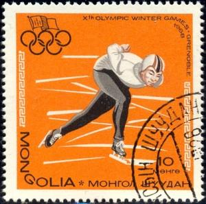Speed Skating, 10th Winter Olympic 1968, Mongolia SC#460