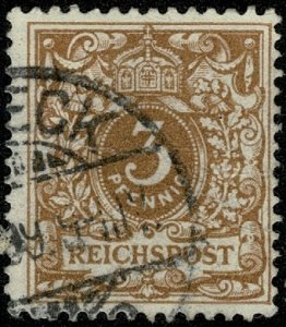 GERMANY 1889-1900 3pf ORANGE-BROWN SG46c USED (VFU)  P.13.5 x 14.5 VF