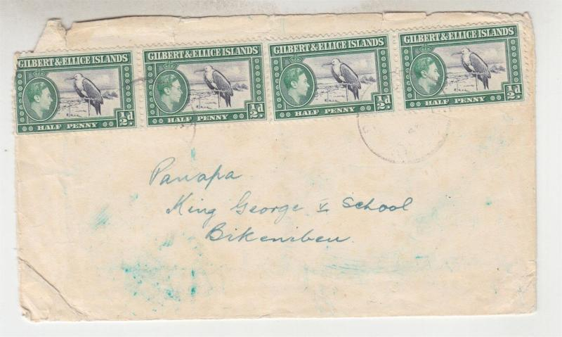 GILBERT & ELLICE ISLANDS, c1952 native cover, KGVI 1/2d. (4) to Bikenbau