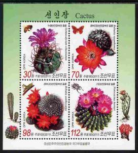 North Korea 2011 Cacti & Butterflies perf sheetlet co...