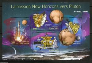 TOGO 2015 THE NEW HORIZONS MISSION TO PLUTO SHEET MINT NH