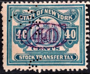 ST134 40¢ New York State Stock Transfer Stamp (1932-39) Perfin