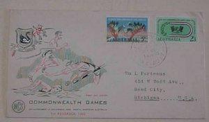 AUSTRALIA FDC 1962 COMMONWEATLH GAMES HOBART  CACHET ADDRESSED