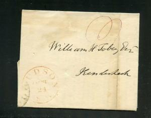 UNITED STATES 1839 HUDSON  NEW YORK RED CANCEL STAMPLESS COVER WHICH IS A SUMONS