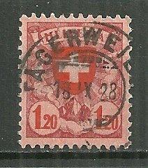 1924 Switzerland 201  1.20Fr Coat of Arms used