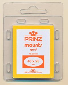 Prinz Scott Stamp Mounts Size 40/25 mm ( 40x25 ) CLEAR  PRECUT  (Pack of 40)