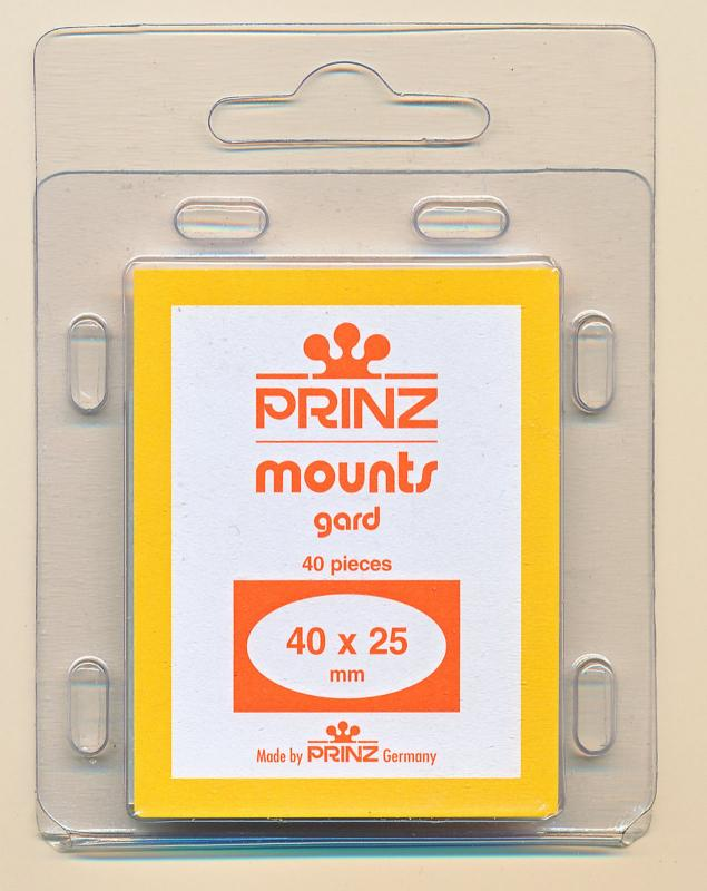 Prinz Scott Stamp Mounts Size 40/25 mm (40x25) CLEAR (Pack of 40)  PRE-CUT