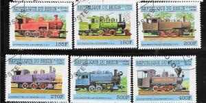 Benin #1047-1052 Steam Engines  (CTO) CV $4.75