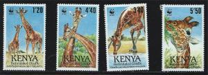 Kenya SC491-494 Giraffes-World WildLife Fund MNH 1989