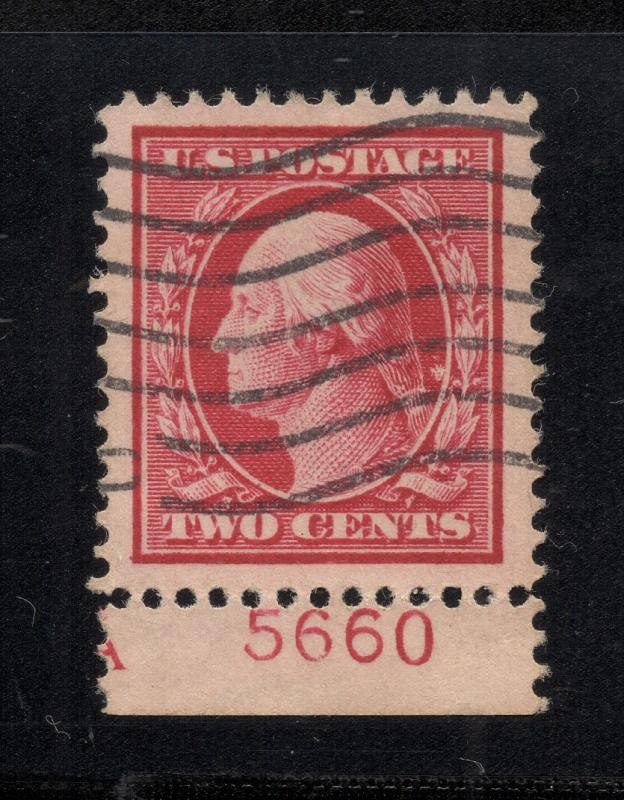 US#375 Carmine - Plate# Single from Imprint w/ 'A' - Used - XF