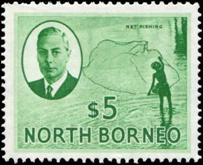 North Borneo SC# 257 SG# 369 Net Fishing $5.00 MNH