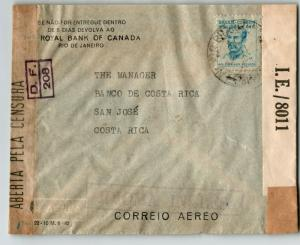 Brazil 1940s Dual Censor Cover to Costa Rica - Z13649
