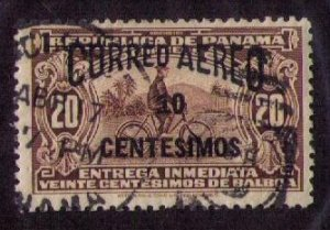 Panama Sc C14a Used Airmail With A Small 10 Overprint F-VF