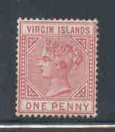 Virgin Islands Sc 14 1883 1d rose Victoria  stamp mint