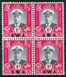South West Africa Royal Visit issue of 1947, Scott 156 MNH/MH Block of 4