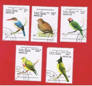 Laos #877-881  VF used  Birds  short set   Free S/H