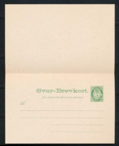 NORWAY Mi. P51 POSTAL STATIONERY POSTAL CARD 5+5 PD. REPLY
