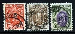 SOUTHERN RHODESIA King George V 1931-37 Perf Varieties SG 16b,16d & 21 VFU