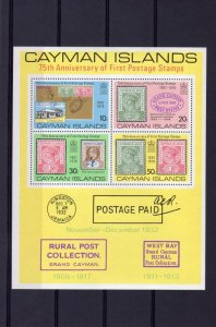 Cayman Islands 1976 FIRST POSTAGE STAMPS 75th Anniversary s/s Perforated Mint NH
