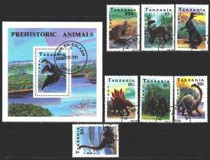 Tanzania. 1991. 854-60, bl146. Dinosaurs. USED.