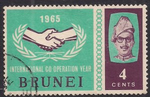 Brunei 1965 QE2 4ct Intl Co operation year used SG 134 ( F689 )