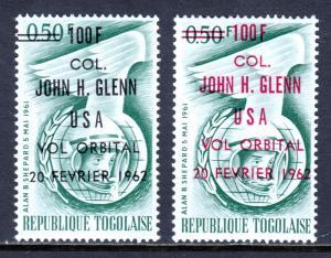 TOGO — SCOTT 421,421a — 1962 JOHN GLENN SURCHARGES — MH — SCV $4.80