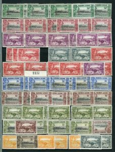 SIERRA LEONE; 1938 early GVI issues fine MINT LOT of Shades values to 5s.