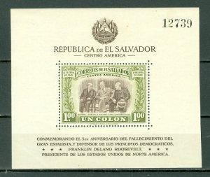EL SALVADOR ROSEVELT  #612...SOUV. SHEET...MNH...$4.00