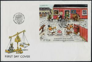 Finland 946 on FDC- Letter Writing Day, Cartoons, Dog, Pig, Horse