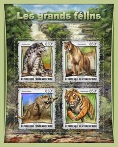 Central Africa - 2017 Big Cats on Stamps - 4 Stamp Sheet - CA17008a