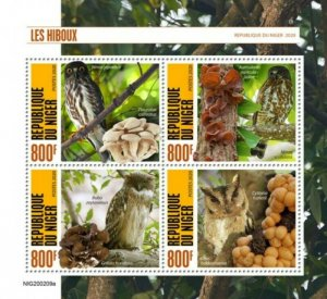 Niger - 2020 Owls and Mushrooms - 4 Stamp Sheet - NIG200209a