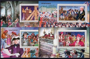 Comoro Islands 1989 Mi#Bl.310/313 FRENCH REVOLUTION BICENTENARY 4 S/S Perf.MNH